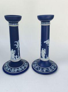 Pr Antique Wedgwood England 10 Inch Tall Jasperware Midnight Blue Candle Sticks #Jasperware #Wedgwood