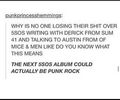 """Could actually be punk rock!"" XD OMH hahhahahahahaha!"
