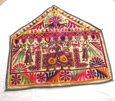 India - Vintage Textile Embroidery - 'ganesh sthapan', an auspicious wall hanging in praise of the Lord Ganesh, the God of good beginnings