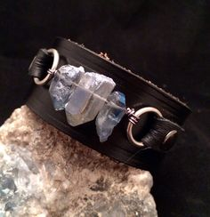 Handmade one of a kind leather cuff bracelet with blue crystals on Etsy, $25.00