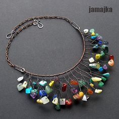 Colorful bead and wire necklace