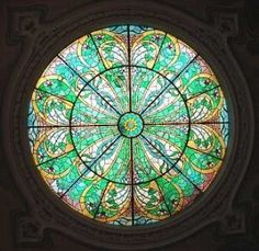 Art nouveau-inspired stained glass dome. Georgian Bank, 3 Pushkin St.