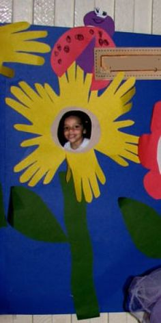 We created a whole wall of sunflowers using each childs face. We also added lady bugs, caterpillars and butterflys