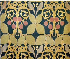 Textile design by C F A Voysey, produced by Alexander Morton & Co in 1896