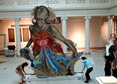 """Thalassa"" (pictured at the New Orleans Museum of Art in 2011) — which depicts a sea goddess figure — created using handcrafted, salvaged, and found materials"