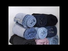 Over 10 Amazing Folding Clothes Life Hacks will Save Your Room - T Shirt Folding, Folding Jeans, Jean Organization, Small Space Organization, How To Fold Jeans, Packing Clothes, Rolling Clothes For Packing, Organizing Hacks, Everyday Hacks