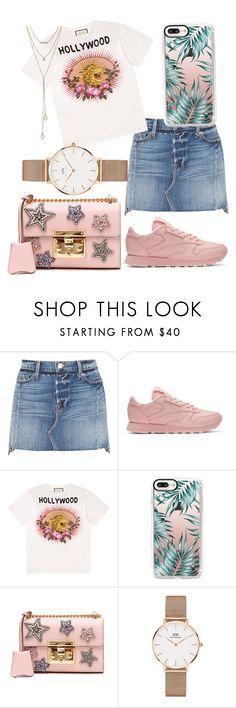 """""""Skirt denim"""" by flaqui6 on Polyvore featuring moda, Frame, Reebok, Gucci, Casetify, Daniel Wellington y SUGARFIX by BaubleBar"""