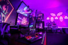 Corner Gaming Desk, Gaming Desk Setup, Computer Gaming Room, Best Gaming Setup, Gamer Setup, Computer Setup, Pc Setup, Gaming Rooms, Simple Computer Desk