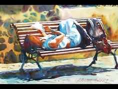 Painting a watercolour: Girl on bench - YouTube