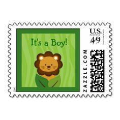 Safari Jungle Lion Baby Boy Postage Stamps