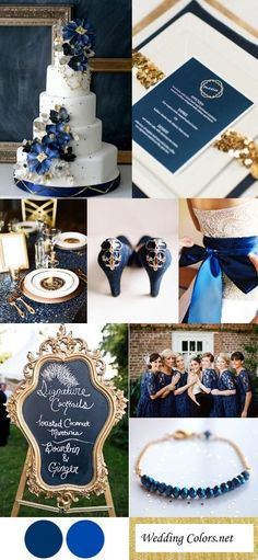 Navy, Cobalt Blue Gold Wedding Color Inspiration That cake though! Navy Blue And Gold Wedding, Gold Wedding Colors, Wedding Color Schemes, Wedding Themes, Wedding Decorations, Navy Gold, Perfect Wedding, Dream Wedding, Wedding Day
