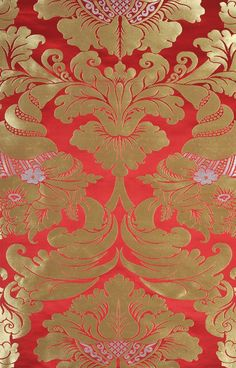 """Modern Fabric, 28"""" wide, Poppy-Red Auspicious Tibetan Fabric with Golden Thread Weave All-Over"""