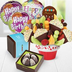 Edible Arrangements® fruit baskets - Confetti Fruit Cupcake w/ Dipped Strawberries & Happy Birthday chocolate pop, Party Perfect Shareable (w/ Birthday sleeve), & Birthday Balloon Bundle - Edible Arrangements, $149.99
