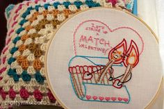 Free Valentine Perfect Match Embroidery Pattern by craftyminx, via Flickr
