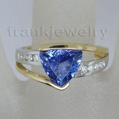 Jewelry Sets Trillion 8mm Solid 14kt Two Tone Gold Diamond Tanzanite Ring SR335