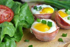 Zapečené vajíčko v šunke so špenátom a syrom Tofu, Mozzarella, Sushi, Low Carb, Eggs, Vegetables, Breakfast, Ethnic Recipes, Fitness