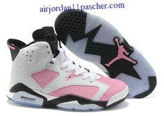 superior quality f861e 1198f Femmes Air Jordan 6 Blanc Noir Rose Chaussures New Jordans For Girls, Pink  Jordans,
