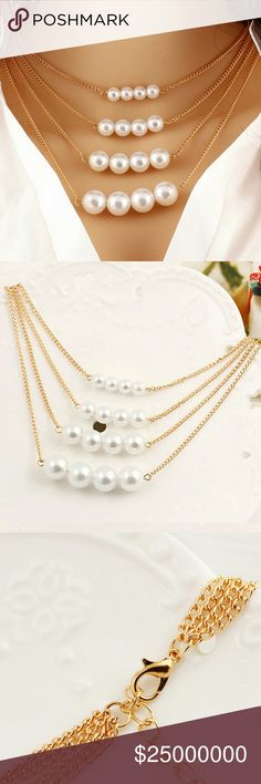 ⏳FREE SHiPPiNGJUST iNBig pearl necklace Big beautiful 4 layer pearl necklace.   Metal type: Zinc Alloy   Free shipping until 7:08PM EST ... Jewelry Necklaces