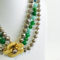 """Fantastic Vintage Green & Taupe Rose Necklace Wow is an understatement! 1970's triple strand necklace. Flower detail is also the closure.  Due to the age of this piece there is irregularities on the 'peals'. 18"""" long. Fashion jewelry Jewelry Necklaces"""