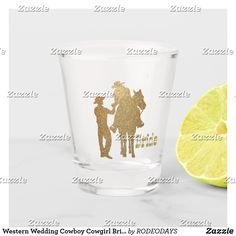Shop Western Wedding Cowboy Groom Cowgirl On Horse Shot Glass created by RODEODAYS.