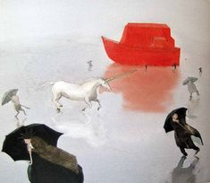 Illustration from Noah's Ark, Lisbeth Zwerger Lisbeth Zwerger, Noah, Paint Photography, Children's Book Illustration, Book Illustrations, Fairytale Art, Art Academy, Children's Literature, Childrens Books