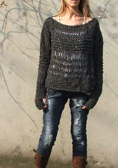 slate gray oversized grunge sweater 5 left in this shade