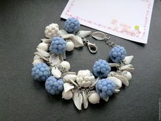 Купить Ягоды для Снежной Королевы - голубой, серо-голубой, малина, зимняя ягода, браслет с малиной