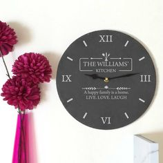 Personalised Slate Kitchen Clock