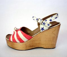Love these!! So retro. SALE Stars  Stripes Wooden Platform Wedges Red White Blue Shoes Heels from HOTRS on Etsy