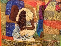 """Bordado do grupo Matizes Dumont, da exposição """"Coração em Paz"""", a partir do painel Guerra, de Candido Portinari (exposto com o painel Paz na sede da ONU)"""