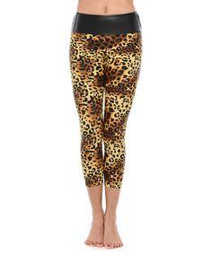 Loving this Brown & Tan Cheetah Mid-Rise Capri Leggings on #zulily! #zulilyfinds