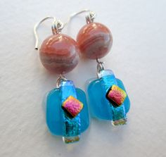Dichroic Glass Earrings Pink Stone and Glass Dangles by EWArtistry