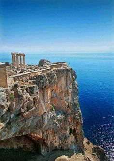 The Temple of Poseidon, God of the Sea, at Cape Sounion. Located South of Athens, Greece, these ancient ruins date back to more than 2400 years ago.