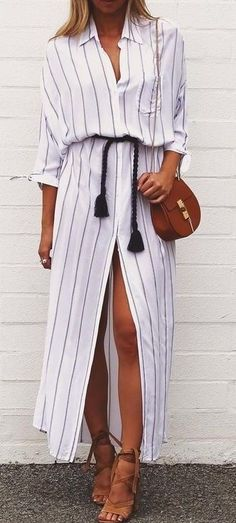 #summer #feminine #fashion  #outfitideas |  Stripe Maxi Shirt Dress
