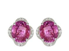 4.09ct Oval Shaped Pink Sapphire & Diamond Stud Earrings