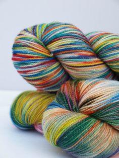 Hand Dyed Fingering/Sock Sparkle Yarn Superwash by Quaere on Etsy, $27.00