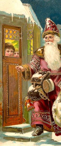 The old-fashioned village gift-giver Vintage Christmas Images, Old Christmas, Old Fashioned Christmas, Victorian Christmas, Father Christmas, Vintage Holiday, Christmas Postcards, Retro Christmas, Country Christmas