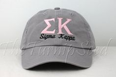 Sigma Kappa Sorority Baseball Cap  Custom Color by TheTurnipSeed, $12.00 You choose the color hat and text. Great as a gift for you little (or big) sister or as a gift for yourself!