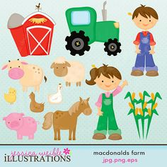 MacDonalds Farm Cute Digital Clipart for Card Design, Scrapbooking, and Web Design