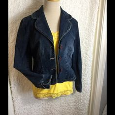 Jean jacket Jean jacket / Denim blazer.  Round and feminine corners.  Great to wear with spring/summer dress or on the go with cute cropped pants.  This a larger 'Small' maybe good for a medium. Jackets & Coats Jean Jackets