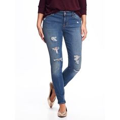 Old Navy Womens Mid Rise Distressed Rockstar Jeans ($25) ❤ liked on Polyvore featuring jeans, angel island, petite, stretchy skinny jeans, destroyed skinny jeans, skinny jeans, white denim jeans and white distressed skinny jeans