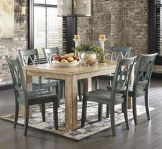 Just purchased!!   Mestler 7-Piece Table Set with Antique Blue Chairs
