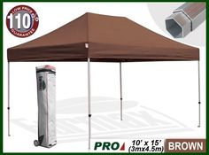 Eurmax Profession Ez Pop up Canopy with Wheeled Bag (15x10 Feet, Brown) by eurmax. $569.95. This10' x 15' instant shelter canopy with adjustable legs sets up in seconds. It is ideal for commercial or recreational use (small business, craft shows, tailgate parties, picnics, camping, outdoor sporting events). The commercial grade DuraLast top provides 99% UV protection and is water resistant. The commercial grade Aluminum frame makes this canopy lighter than comparable all-steel f...