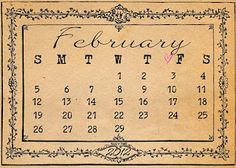Printable vintage February calendar to use in your journal. from wild@heart