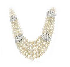 A Natural Pearl and Diamond Five Strand Necklace, by Bulgari, circa 1950