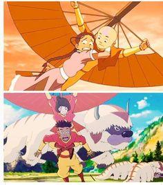 Katara and Aang from Avatar: The Last Airbender. Jinora and Kai from Avatar: The Legend of Korra
