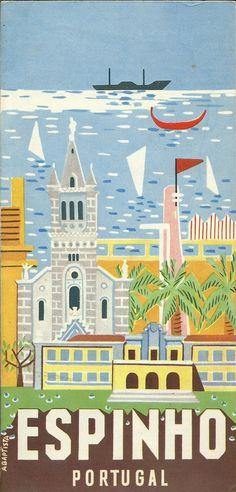 Vintage illustration for Portugal. Tourism Poster, Poster Ads, Travel Ads, Travel Images, Illustrations Vintage, Illustrations Posters, Vintage Advertisements, Vintage Ads, Wein Poster