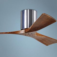 """Fan guidelines - We want a fan 1) with 3 or more blades for good air circulation; 2) the longer the blade the more air circulation & 3) low profile, a flush mount """"hugger"""". $553.50. 42"""" Matthews Irene 3-Blade Walnut-Chrome Hugger Ceiling Fan"""