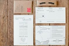 Lovely black, white and kraft invitation suite.  Love the small envelope w/vertical text and RSVP tri-fold!
