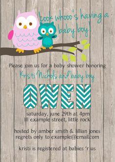 Owl Baby Shower Boy Invitation (digital file)